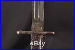 1920 Marked Pattern M1905 Bayonet (Wood Grips) & Canvas / Rawhide Scabbard