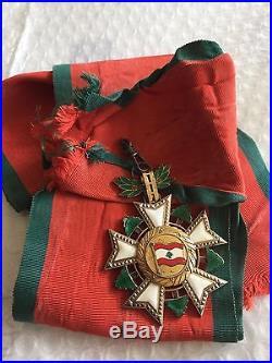 1936 Lebanon National Order of Cedar Grand Cross Sash Badge Medal Nichan 1 Class