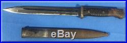 1938 World War II Era German K98 Rifle Bayonet & Matching Scabbard 797 J. Sch