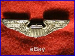 749. 1930s USAAC Pilots wing, full size, solid back PB, ster 3, no maker mark