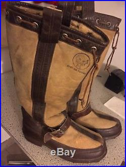 Aaf Pre-ww11 Nos Flt. Boots! White Sheepskin/leather Trim! 4 Very Cold! Minty Med