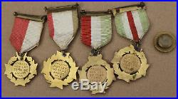 Antique Mexican Military Service Award Pins Medals Army Shoulder Band Insignia