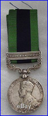 British INDIA General service Waziristan War sterling silver medal XF 1921