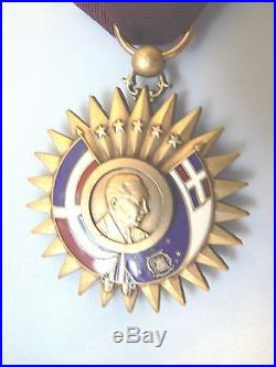 DOMINICAN REPUBLIC LONG SERVICE MEDAL, LARGE ENAMELED GOLD GILT, very rare