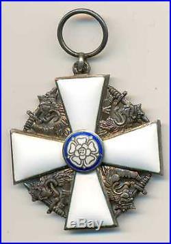 Finland Finnish Silver Enamel Order of White Rose Khight Cross Tillander 1920-30