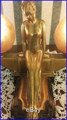 Frankart art deco double globe Lamp Rarely seen