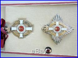 GREECE ORDER OF GEORGE I COMMANDER NECK BADGE WithO SWORDS. SILVER. CASED. EF