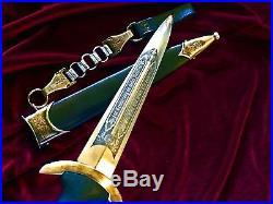 German dagger knife etched scabbard blade Rohm dagger hanger