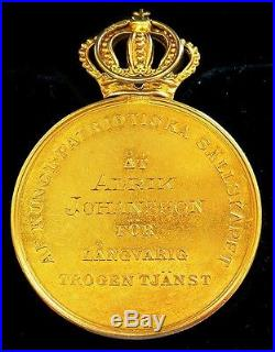 Gold Sweden Royal Patriotic Society Medal Cased