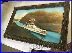 Hand Colored Photo of the USS Arizona in Panama Canal 1931 Photographed Print