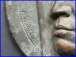 Italian Orginal Bronze Plaque Targa Fascista Duce DVX Benito Mussolini Quaglino