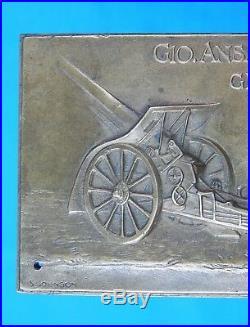 Italian Pre WW2 Gio. Ansaldo & C. Genova Artillery signed Copper Plaque Medal