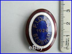 Kingdom of Yugoslavia, Serbia, Cap Badge Cockade FIDAC 1928 Belgrade