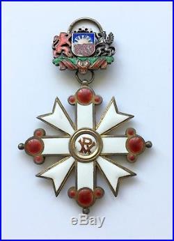 Latvian SILVER LATVIAN ORDER OF VESTHARDUS 4,5 cl. Medal Cross Latvia Decoration