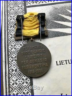 Lithuania 1918-1938 2 medals original boxes + 2 award sheets for the same person