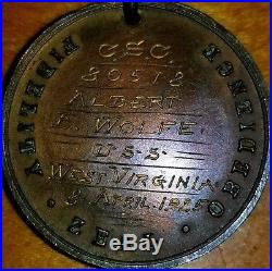 Named Uss West Virginia Navy Good conduct medal named to a Albert E Wolfe