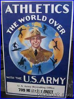 ORIGINAL 1929 U. S. Army Recruitment Poster Showing Athletics San Francisco