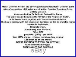 ORder St John Military Merit Order Jerusalem Rhodes Malta Donat Devotion Cross