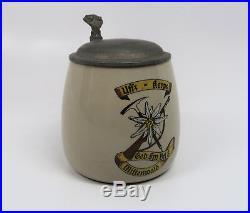 Old WWII German Army Heer beer mug ceramic stein WW1 Gebirgsjager 0.5L Wehrmacht