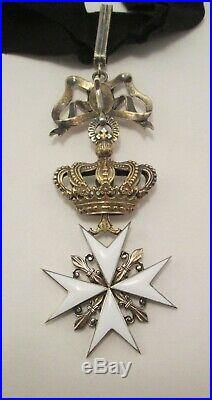 Order of Malta Knights Gilt Sterling Medal In Original Case