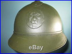 Orig rare Belgian adrian M20 Fonson helmet casque Stahlhelm casco elmo WW