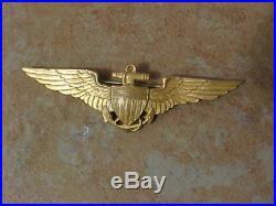 Original Pre Wwii Usn Naval Aviator Pilot Wings Full Size Pinback