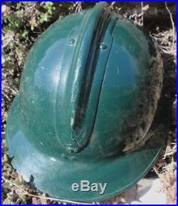 PERUVIAN STEEL ADRIAN GREEN GUARDIA CIVIL Mo 34 HELMET/ BADGES 1950s VERY SCARCE