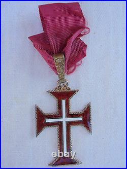 PORTUGAL ORDER OF CHRIST COMMANDER NECK BADGE. SILVER/HALLMARKED. Vf+