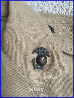 Post WWI Khaki USMC Tropical Drill Coat Jacket Named USS Wyoming Marine