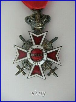 ROMANIA KINGDOM CROWN ORDER KNIGHT GRADE With SWORDS. TYPE 2. CASED. RARE 7