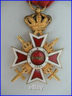 ROMANIA KINGDOM CROWN ORDER OFFICER GRADE With SWORDS. TYPE 2. RARE. EF