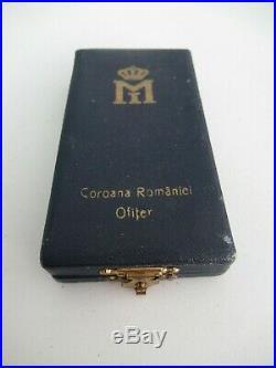ROMANIA KINGDOM CROWN ORDER OFFICER GRADE With SWORDS. TYPE 2, VAR. 1. CASED. RR