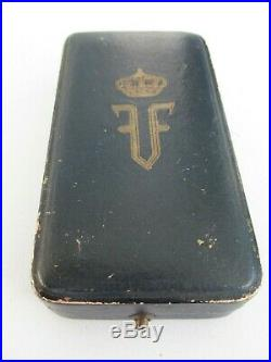 ROMANIA KINGDOM CROWN ORDER OFFICER GRADE WithO SWORDS. TYPE 1 SILVER/MARKED CASED
