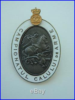 Romania Kingdom Officer's Championship Horsemanship Badge. Carol II Rare! Medal