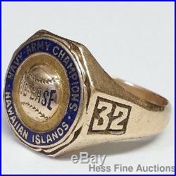 Rare 1932 Army Navy Hawaii Submarine Baseball Championship Ring Rose Family