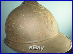 Rare Belgian M15 mustard helmet reused 1920's casque Stahlhelm casco elmo m
