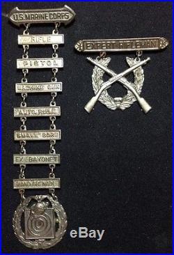 Rare Pre Wwii Usmc Us Marine Corps Marines Expert Rifleman Awards Old Latches
