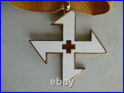 Romania Kingdom 3 Group Miniature Medal Bar. Made In Gold Chain. Rare! Vf+