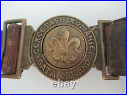 Romania Kingdom Ww1 Scout Uniform Belt & Buckle. Very Rare! Vf+ Medal