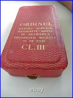 Romania Socialist Securitata Merit Order 3rd Clas Rpr. Cased. Very Rare