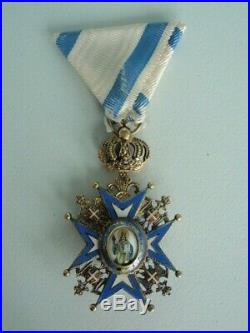 SERBIA ORDER OF ST. SAVA OFFICER GRADE WithO SWORDS. TYPE 3. VF+. CASED