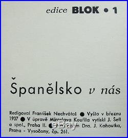 Spanelsko v nas 1937 ultra-rare Czech poetry Spanish Civil War Picasso Seifert