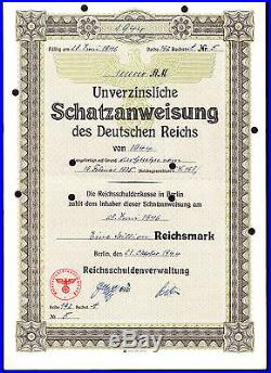 Third Reich Nazi Zero Coupon Rm 1 000 000- Eq Purch 1516 Vw Beetle Cars