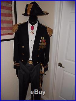 US NAVY Uniform WW1 era with dress sword, bicorn hat, gold epaulettes