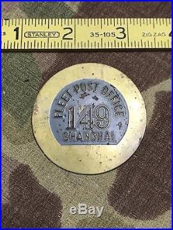 USMC CHINA MARINE SHANGHAI FLEET POST OFFICE BADGE RARE 4th MARINES