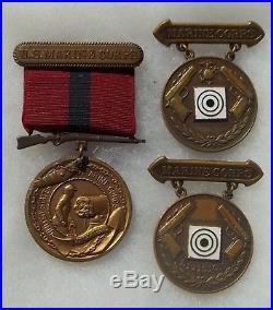 USMC Marine NAMED Competitive Shooting Medal Badge Pin IDed Elliot Trophy Team