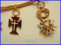 Vatican Portugal Spain Order Miniature Chain. All In Gold. Rare! Vf+