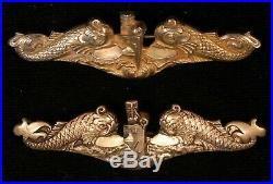 Very rare 1930's pre WWII USN Submarine Officers dolphins badge MYRGOLD