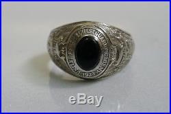 Vintage 1933 US Coast Guard Academy 14k White Gold Black Jade Ring Size 5.5