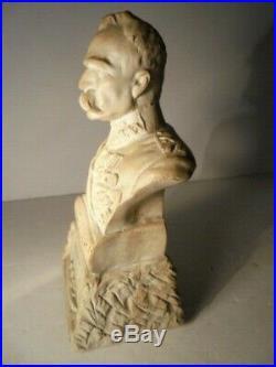 Vintage WWI Poland's Marshal Jozef Pilsudski Bust Statue 1867-1935 Alabaster